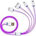 AKSHAJ 4 In 1 USB Charging Cable For All Your Mobile Smart Phone Devices - IPhone Android Phones Windows Phones And Tablets (3Ft) - CHARGING ONLY NO DATA SYNC USB Cable (Purple)