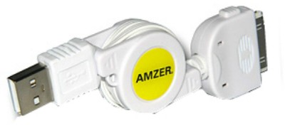 Buy Amzer 88802 USB Retractable Sync and Charge Data Cable for iPhone 4 White: Data Cable