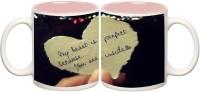 Love Heart Inner Pink Colour Mug Off White Ceramic - 50 Ml