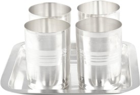 Shreeng Silver Plated Amrapali Glass Set With oval Tray 5 Pcs. ( 20cmx20cmx10cm) Stainless Steel Decorative Platter