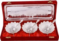 Jaipur Trade Silver Plated 3 Kamal Bowl With Spoon With Tray Pack Of 7 Dinner Set (Silver Plated)