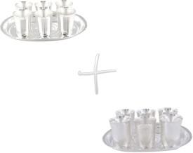 GS Museum Mayuri 6 Glass & Juli Diamond 6 Glass Set Silver Plated Decorative Platter