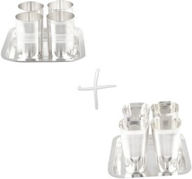 GS Museum Amrapali 4 Glass & Square Met Finish 4 Glass Set Silver Plated Decorative Platter