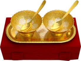 Shreeng 2 Tone Round Shape 2 Bowl & Tray With 2 Spoons Brass Decorative Platter