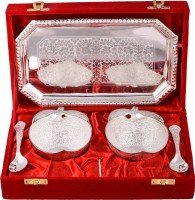 Jaipur Trade Silver Plated 2 Appel Bowl With Spoon With Tray Pack Of 5 Dinner Set (Silver Plated)
