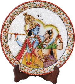 Handicrafts Paradise Marble Round Plate Cut Work Radha Krishna Pattern Stoneware Decorative Platter