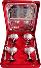Brass Gift Center Ice Cream 4 pc set with Tray Brass Decorative Platter