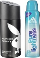 Playboy And Adidas Hollywood And Pure Lightness Body Spray  -  For Boys, Men, Girls, Women (300 Ml)