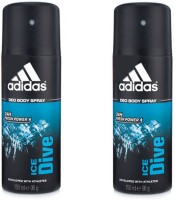 Adidas Ice Dive Deodorant Spray (Pack Of 2) Body Mist  -  For Men (300 Ml)