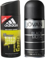 Adidas Pure Gume And Black Musk Body Spray  -  For Boys, Men (300 Ml)