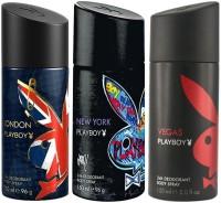 Playboy London Newyork Vegas Body Spray  -  For Men (450 Ml)