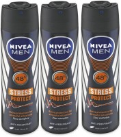Nivea Men 48h Stress Protect Extra Protection Zinc Complex Anti-Perspirant ( Pack Of 3 ) Deodorant Spray  -  For Men (150 Ml)