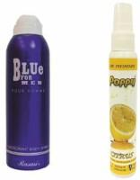 Rasasi Rasasi Blue Deo + Poppy Spray Freshener Citrus Free Deodorant Spray  -  For Boys, Girls, Men, Women (200 Ml)