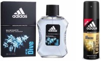 Adidas Passion 4 Fashion The Ice Dive EDT & Victory League Body Spray  -  For Boys, Men (250 Ml)