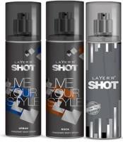 Layer'R Shot Urban, Rock, Power Play Fragrance Body Spray Deodorant Spray  -  For Men (135 Ml)