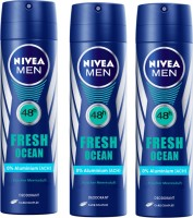 Nivea MEN Fresh Ocean Longlasting Pack Of 3 Deodorant Spray  -  For Men (150 Ml)