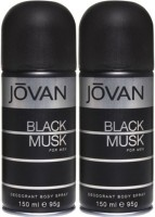 Jovan Black Musk Deodorant Spray (Pack Of 2) Body Mist - 300 Ml (For Men)