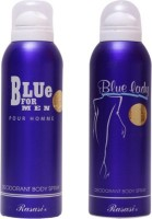 Rasasi Blue For Men And Blue Lady Deodorant Spray  -  For Men (400 Ml)