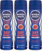 Nivea Men 48h Dry Impact Plus Extra Protection Anti-Perspirant ( Pack Of 3) Deodorant Spray  -  For Men (150 Ml)