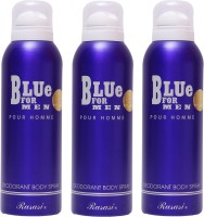 Rasasi 3 Blue For Men Deodorant Spray  -  For Men (600 Ml)