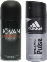 Jovan And Adidas Satisfaction And Dynamic Pulse Body Spray  -  For Boys, Men (300 Ml)