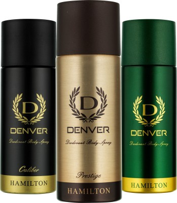 DENVER Denver Hamilton, Prestige And Caliber Deo Combo (Pack Of 3) Deodorant Spray  -  For Men (165 Ml)