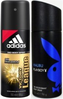 Adidas And Playboy Victory League And Malibu Body Spray  -  For Boys, Men (300 Ml)
