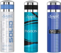 Sapil SOLID PASSION(M) NICE FEELING BLUECOMBO SET OF 3PCS Body Spray  -  For Men (200 Ml)