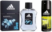 Adidas Lavish Life Combo In Ice Dive EDT & Pure Game Deo Body Spray  -  For Boys, Men (250 Ml)