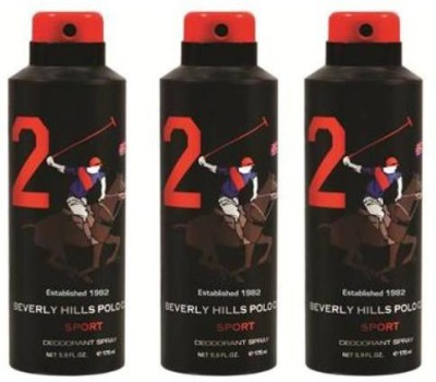 Beverly Hills Polo Club Sport 2 No. Combo Set Of 3 Body Spray  -  For Boys, Men (525 Ml)