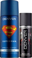 Denver Superman Strength Deo 150 Ml & Black Code Nano 50 Ml Deodorant Spray  -  For Men (150 Ml)