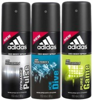 Adidas Dynemic Plus, Pure Game And Ice Dive Deodorant Spray  -  For Men (450 Ml)