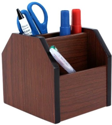 7Trees 4 Compartments Wooden Pen Stand,Card Holder With 360 Degree Rotation (Brown)