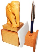 Sasta 3 Compartments Wooden Pen Stand With Visiting Card Holder (Sandal)