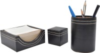 Knott 1 Compartments Leather Slip Holder::Tumbler::Paper Weight (Black)