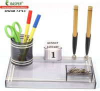 Rasper 3 Compartments Small Acrylic Pen Holder Office Pen Stand (Smoke-Black (Light & Dark))