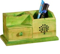 Unravel India Pen Stand 2 3 Compartments Wooden Desk Organizer (Green)