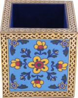 DecorVilla 1 Compartments Metallic, Wooden Pen Holder (Blue)