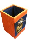 Indha Craft Appu 1 Compartments Wood Pen Stand - Orange, Blue