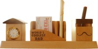 Tiedribbons Gift For World Coolest Dad 3 Compartments Wooden Pen Stand (Wooden Color)