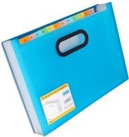 Solo 12 Compartments Polypropylene Plastic Desktop Expanding Document Organiser (Frosted Blue)