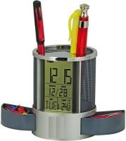 Gadget-Wagon 3 Compartments Plastic Pen Stand With Temperature,Calendar,Clock, Timer & Alarm (Black)