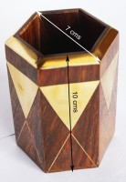 Vincy 1 Compartments Rose Wood, Brass Hexagon Shaped Wooden Pen Stand With Brass Engraving (Rose Wood Brown, Brass Golden)