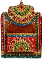 Aapno Rajasthan Teracotta 1 Compartments Wood And Clay Letter Holder (Multicolor)