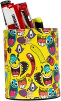 TheCrazyMe Quirk Up 1 Compartments Eco-Friendly Leatherette Pen Stand (Multicolor)