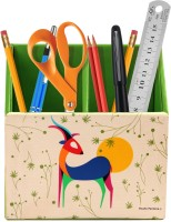 Studio Pandora Nature Series 2 Compartments PU Leather And MDF Wood Desk Organizer (Multicolour)