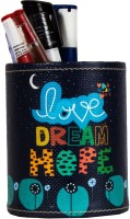 TheCrazyMe Love Dream Hope 1 Compartments Eco-Friendly Leatherette Pen Stand (Multicolor)
