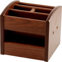 RadiusIn M 5 Compartments Wooden Pen Stand (Brown)