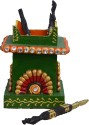 EcraftIndia Embossed 1 Compartments Papier-Mache Pen Stand - Green, Red
