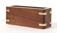 Home Sparkle 1 Compartments Wood & Brass Visiting Cards Holder (Brown)